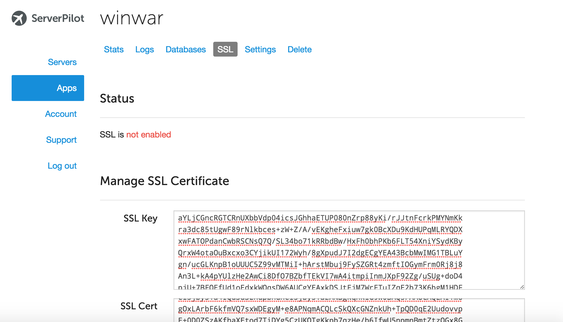 Setting up ssl for wordpress on digital ocean using serverpilot when you receive your certificates log into serverpilot paste your ssl key and ssl certificate in the relevant boxes please note these do need the 1betcityfo Images